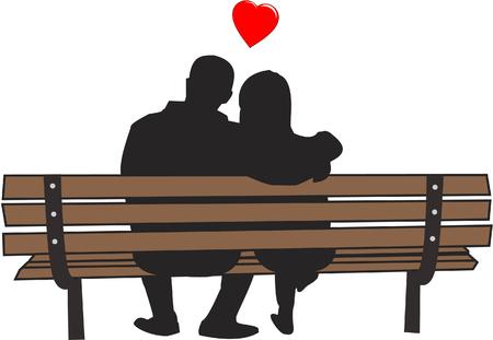 Paar zittend op bankje in de liefde
