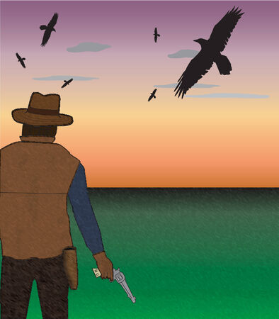 Gunslinger with gun out with birds overhead