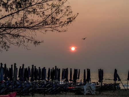 hua: Sunrise at Hua Hin beach Stock Photo