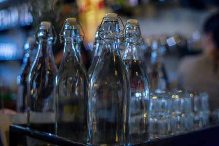 Display of empty glass bottles Stock Photo