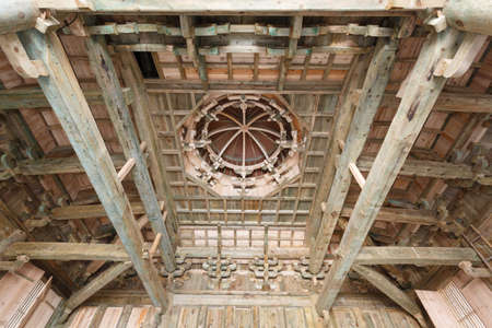 tenon: Classical building structure in ancient China  Bagua (Eight Diagrams) sunk panel (caisson ceiling) Editorial