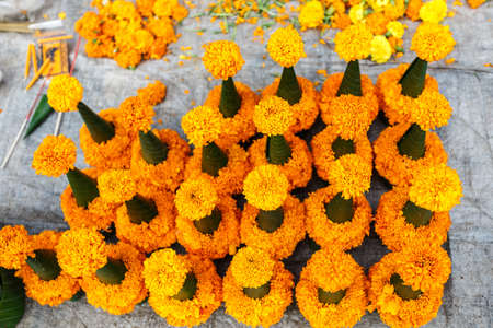 sacrifices: flower sold for fending temple in Luang Prabang