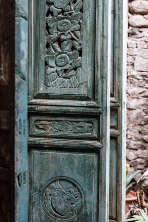 wood carving door: General blue carved doors and windows Stock Photo
