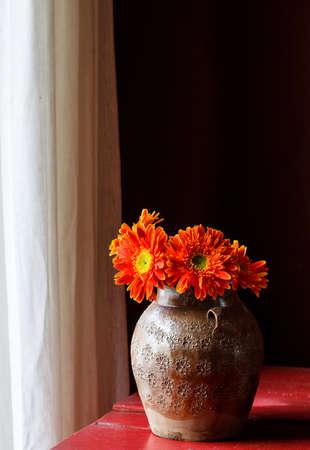 orange gerbera: A jar of orange gerbera