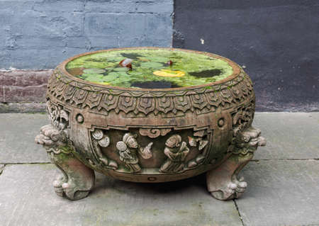 duckweed: A stone carved large tank