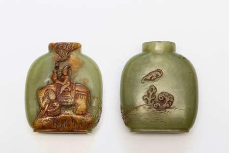 tabaco: China botella de tabaco jade antiguo