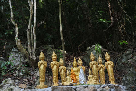 seclusion: The Golden Buddha in the original forest in Laos Editorial