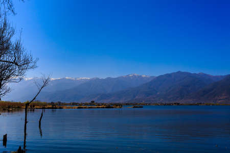 irradiation: Blue sky reflected in the lake