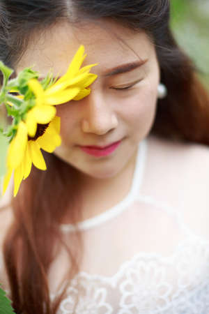 touched: An Asian girl touched down a sunflower