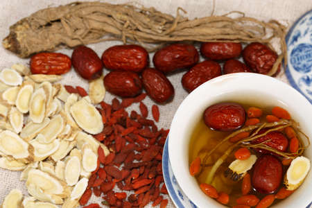 collocation: Four kinds of traditional Chinese herbal medicine Stock Photo