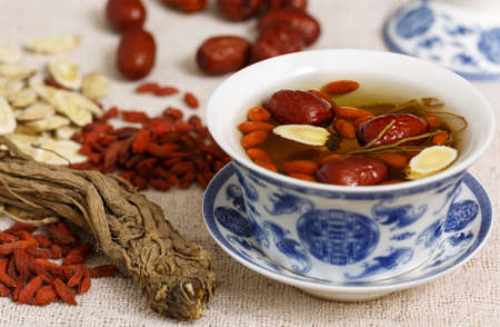 health care and medicine: Four kinds of traditional Chinese herbal medicine Stock Photo
