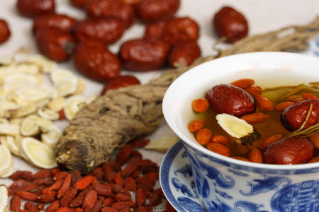 codonopsis roots: Four kinds of traditional Chinese herbal medicine Stock Photo