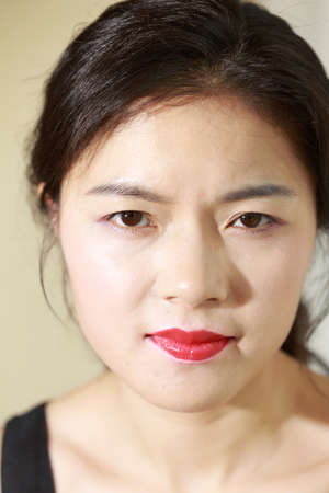 feature: A sad face feature of Asian girls Stock Photo