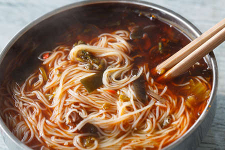 rice noodles: A bowl of rice noodles in Sichuan, China