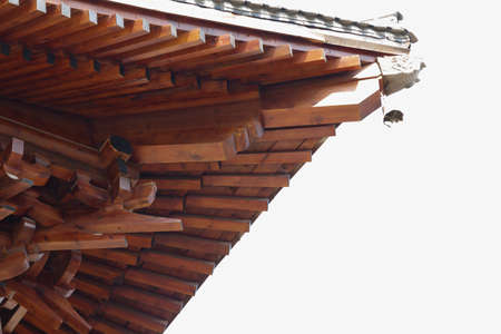 stone carving: Dragon stone carving and wood roof