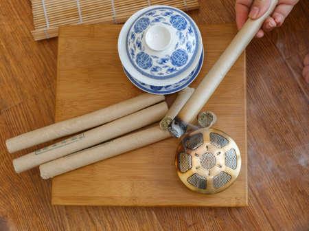 moxibustion: Chinese medicine moxibustion scene