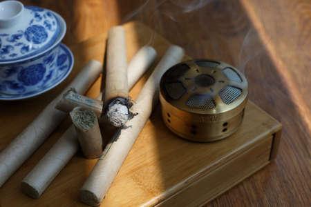 Chinese medicine moxibustion scene