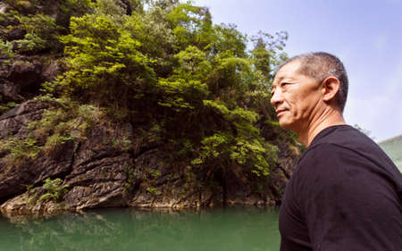 firmness: The bust of  a strong  asia middle-aged man
