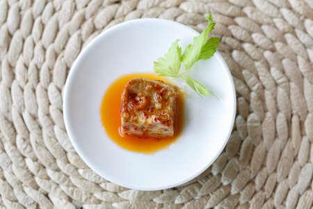 bean curd: A piece of  fermented bean curd
