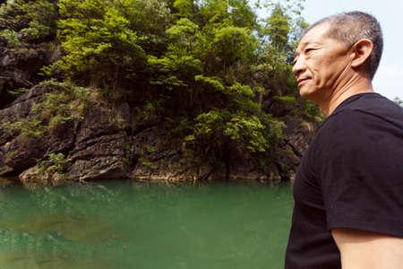 firmeza: Primer plano de un hombre de mediana edad asi�tico fuerte