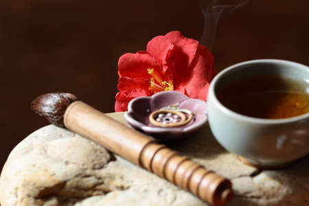 Tea, incense and flower