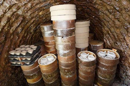 China traditional kiln, firing porcelain scene
