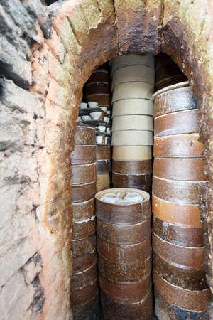 firing: China traditional kiln, firing porcelain scene