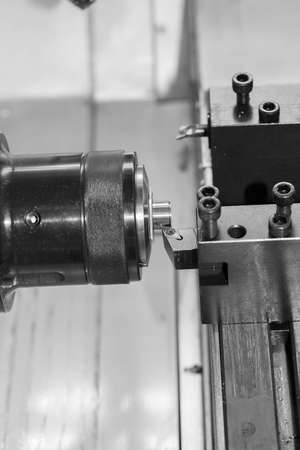feature: Feature of CNC machine tool cutting parts Stock Photo