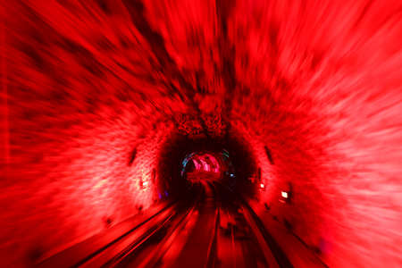The Light at the End of the track in tunnel Stock Photo