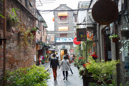 Shanghai,China - on December 19, 2016 ,TianZiFang, the narrow alleyways of old Shanghai Editorial