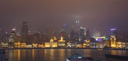 Shanghai,China - on December 20, 2016 ,The  Bund,  commercial street scene at dusk,The Beach  is one of the most prosperous neighborhood in Shanghai