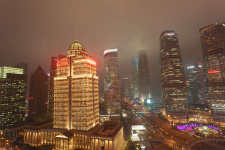 The commercial street scene at dusk, Lujiazui  is one of the most prosperous neighborhood in Shanghai