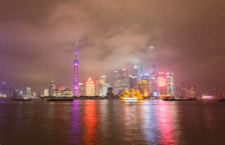 Beautiful night view of Shanghai, the Bund