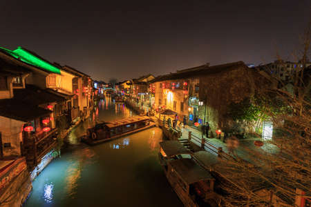 Suzhou,China - on December 23, 2016,Night view of Suzhou,Suzhou is a water, river, bridge, and ShanTang Street, Suzhou is the most typical features of streets and alleys Editorial