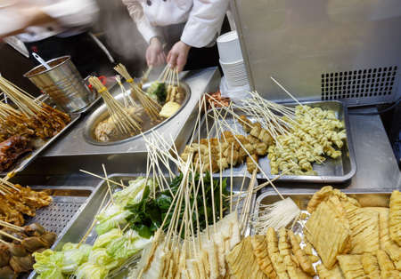 Brine vegetables cooked by various spices,Nanjing Road Shanghai Snack Stock Photo