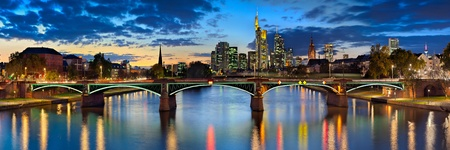 frankfurt skyline at night, germany Stock Photo
