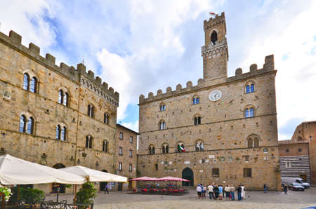 volterra: market square of Volterra Tuscany Italy