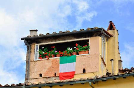 toskana: Italian Window decorated Tuscany Stock Photo