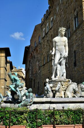 neptun: Detail of Neptun fountain Florence Italy Stock Photo
