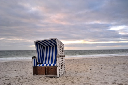 schleswig holstein: Beach chair at the beach of Island Sylt, Germany