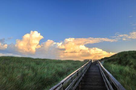 ドイツのズィルト島の砂丘でボードウォーク 写真素材