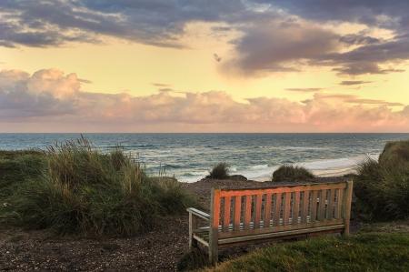 ドイツの赤崖ズィルト島で日の出