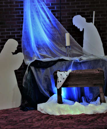 A vertical image of a Nativity Scene.