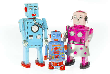 tin robot: robot family isolated on white