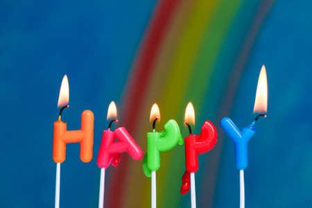 illustrating: Sad happy birthday candles illustrating the concept of depression. Stock Photo