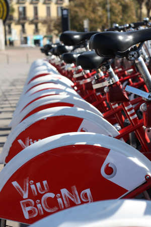 clear path: BARCELONA, SPAIN, March 14 2017: Bicing bicycle sharing bikes at a parking station..