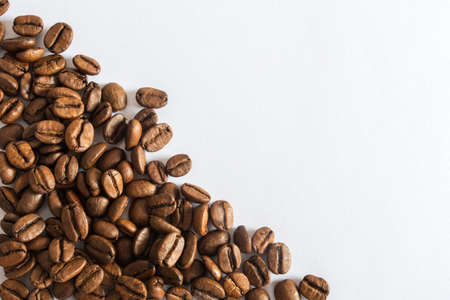 Coffee beans on a white background cafe advertisement