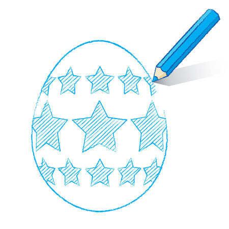 Blue Pencil with Shadow Drawing Easter Egg plus Stars on White Background Stock Vector - 26336948