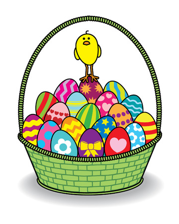 multiple birth: Illustration of a single Chick standing on Top of many Decorated Coloured Easter Eggs piled high in a Green Wicker Basket on a White Background Illustration