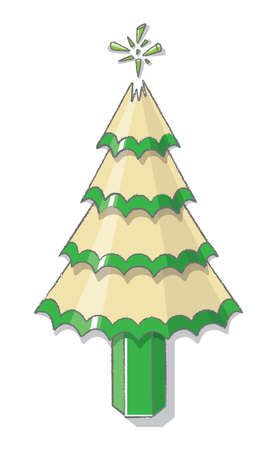 sharpened: Illustration of Christmas Tree from sharpened Green Pencil and Shavings with Broken Lead for Star